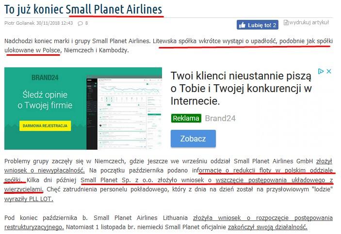 5f73fc9a46779 Jest to istotna informacja gdyż wg Urzędu Lotnictwa Cywilnego w 2017 roku  linie Small Planet stały się największym przewoźnikiem w Polsce.